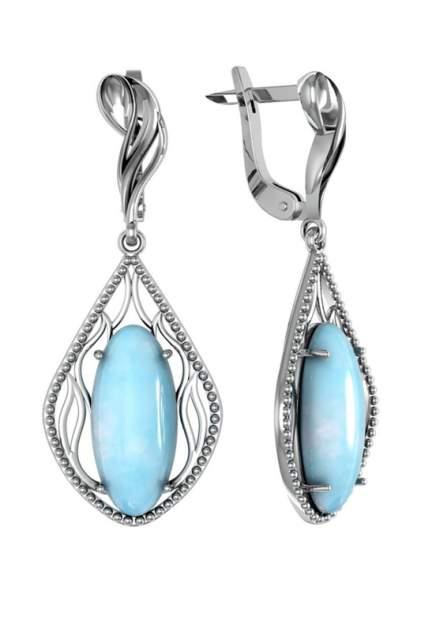 Серьги женские из серебра ПРИВОЛЖСКИЙ ЮВЕЛИР 361328-AQ, аквамарин