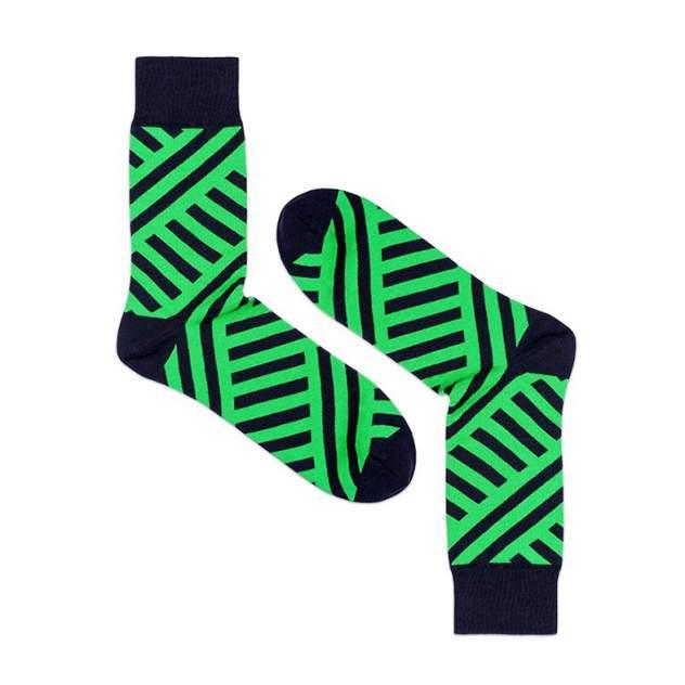 Носки унисекс Burning heels Диагональ зеленые 39-41
