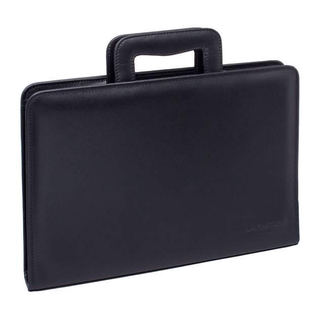 Папка для документов кожаная Lakestone Elton 961007M/BL черная