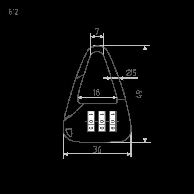 Замок навесной кодовый Нора-М 612 для чемодана - Черный - 36 мм