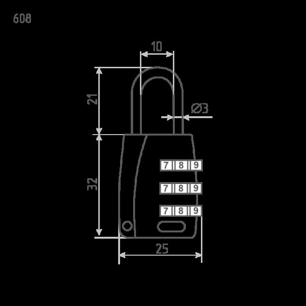 Замок навесной кодовый Нора-М 608 для чемодана - Серебро - 25 мм
