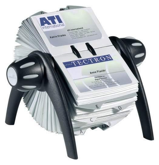 Картотека для визитных карточек Durable 2417-01, на 400 визит, VISIFIX Flip вращ черн/сер