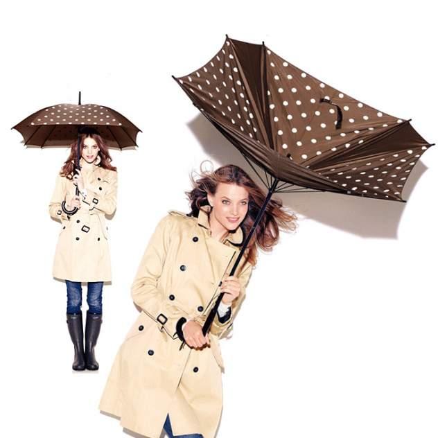 Зонт-трость женский полуавтоматический Reisenthel YM7009 черный