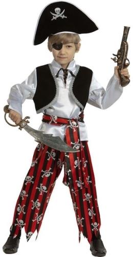 Карнавальный костюм Батик Пират, цв. белый; красный р.116