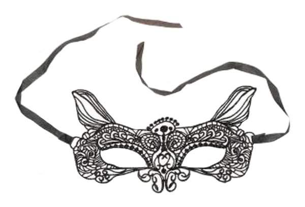 Аксессуар для карнавала Новогодняя сказка Маска кружевная с ушками, черная