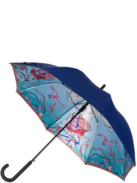 Зонт-трость женский автоматический Eleganzza 01-00026838 голубой/разноцветный/синий