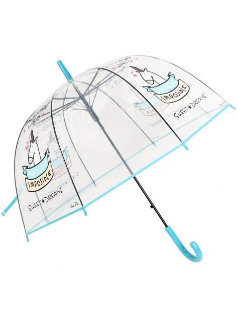 Зонт-трость МихиМихи Единорог Sweet Dreams прозрачный купол, голубой