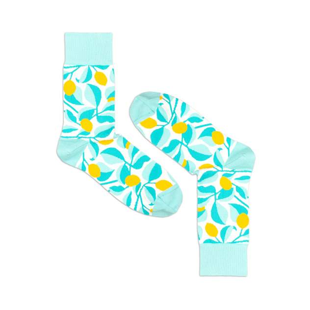 Носки унисекс Burning heels Лимоны голубые 36-38