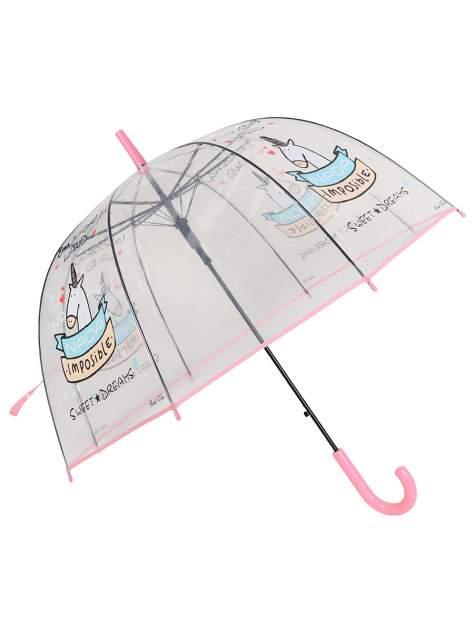 Зонт-трость МихиМихи Единорог Sweet Dreams прозрачный купол, розовый