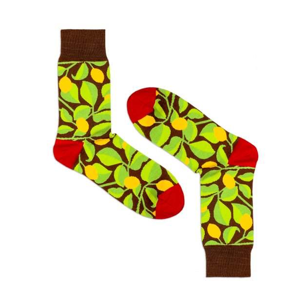 Носки унисекс Burning heels Лимоны коричневые 39-41