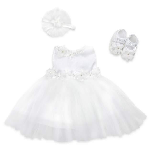 Праздничный набор: платье, пинетки и повязка на голову RBC МЛ 365324 кремовый р.56