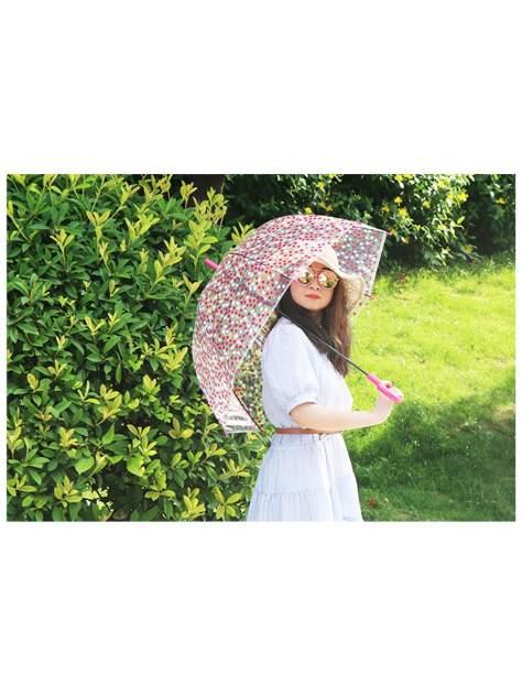 Зонт-трость МихиМихи Горошек прозрачный купол, розовый