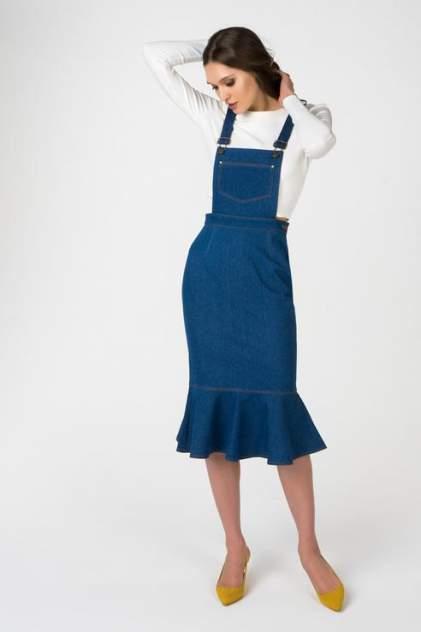 Джинсовый сарафан T-Skirt миди с воланом цв.синий р.S