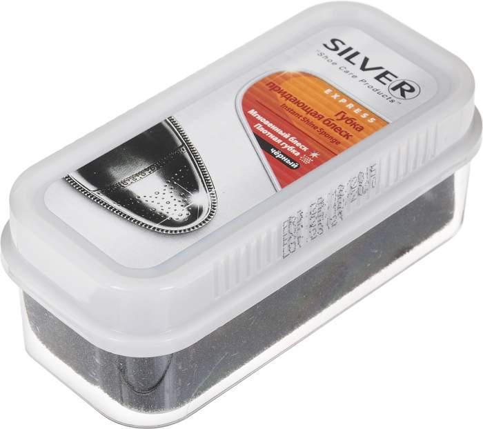 Губка-блеск для обуви Silver широкая черная