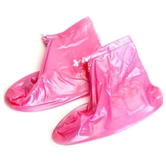 Защитные чехлы пончи Baziator для обуви от дождя и грязи с подошвой розовые размер S