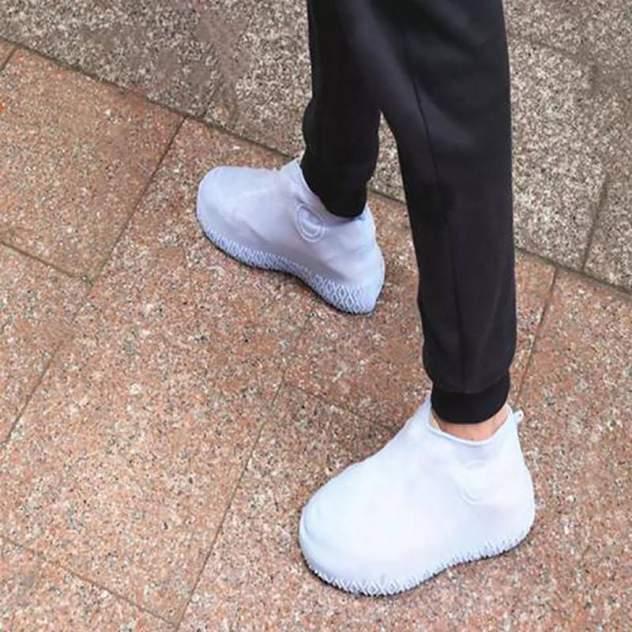 Силиконовые водонепроницаемые чехлы бахилы Baziator для обуви белые L