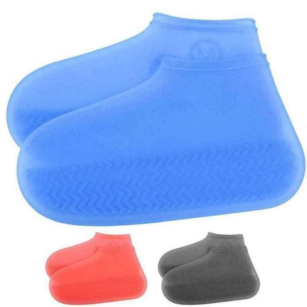 Силиконовые водонепроницаемые чехлы бахилы Baziator для обуви синие S
