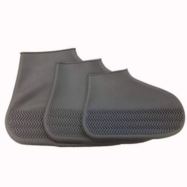 Силиконовые водонепроницаемые чехлы бахилы Baziator для обуви серые S