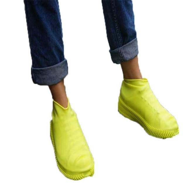 Силиконовые водонепроницаемые чехлы бахилы Baziator для обуви желтые M