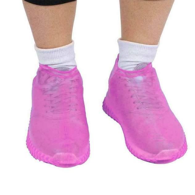Силиконовые водонепроницаемые чехлы бахилы Baziator для обуви розовые L