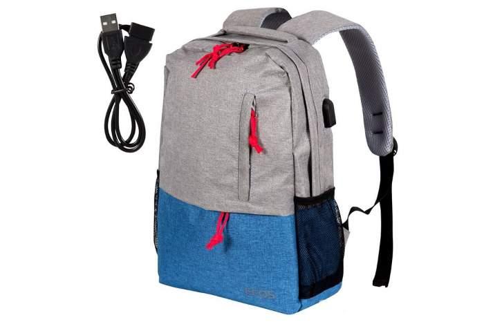 Рюкзак унисекс Ecos Городской серый с синим