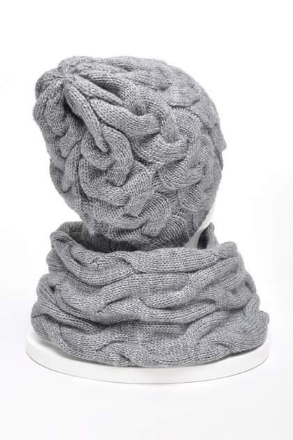 Комплект (шапка+снуд+варежки) женский Jagga 1502 серый ONE SIZE