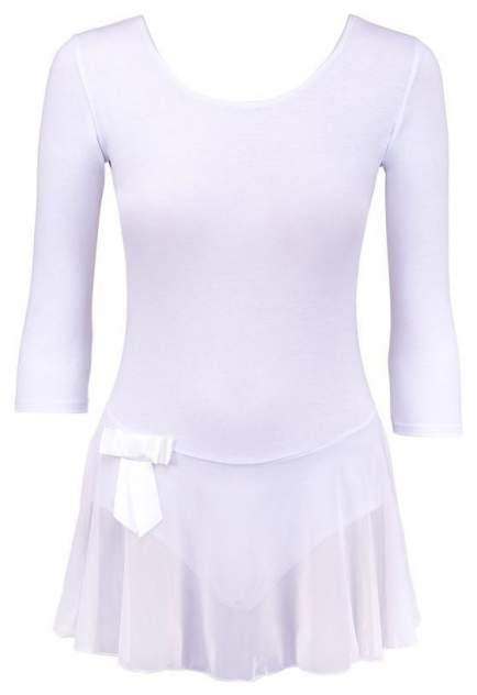 Купальник гимнастический AA-181, рукав 3/4, юбка сетка, хлопок, белый (28-34) (32)