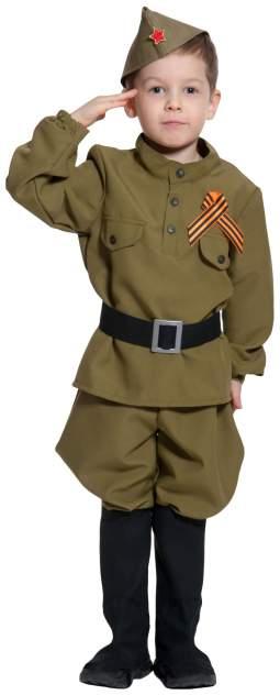 Карнавальный костюм Карнавалофф Военный, цв. хаки р.116