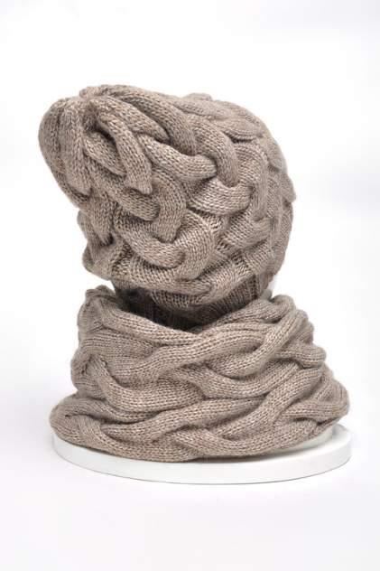 Комплект (шапка+снуд+варежки) женский Jagga 1502 коричневый ONE SIZE