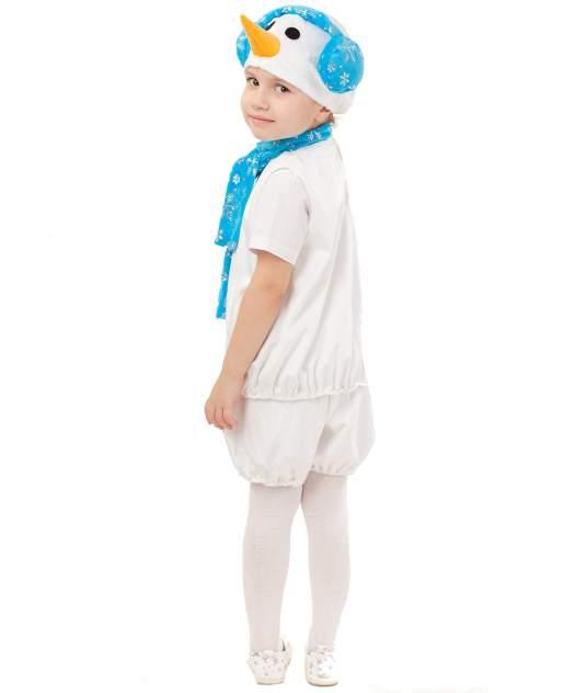 Карнавальный костюм Батик Снеговик, цв. белый; голубой р.110