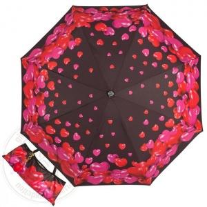 Зонт складной женский автоматический MOSCHINO M/7275-OCA/ черный/красный