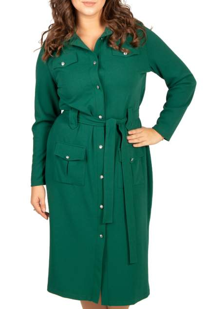 Платье женское BELUCHI Сафари зеленое 54 RU