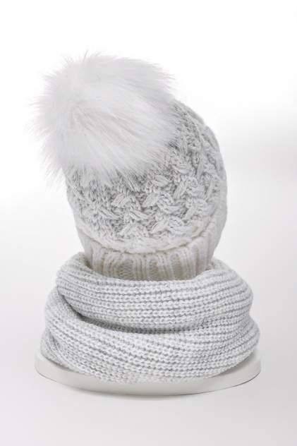 Комплект (шапка+снуд) женский Jagga 1334 белый ONE SIZE