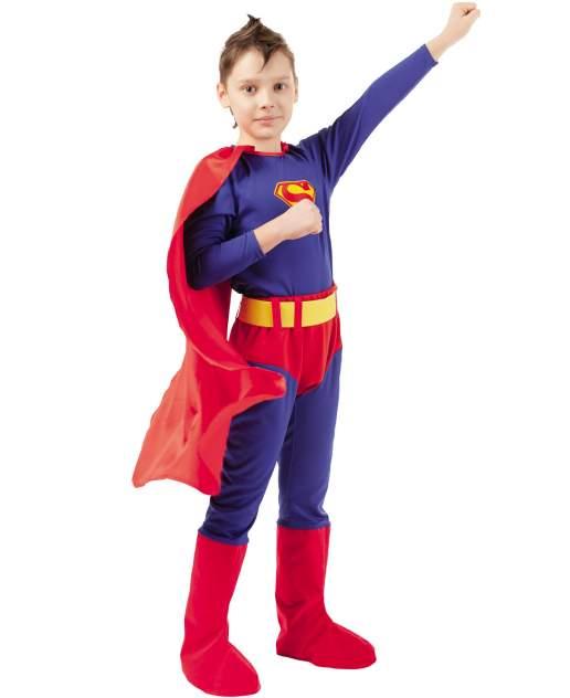 Карнавальный костюм Батик Герои DC; Супермен, цв. красный; синий р.134