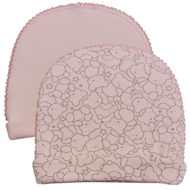 Шапочки Папитто швы наружу с отворотом 2 шт Верные друзья Медвежонок, цвет розовый р.36