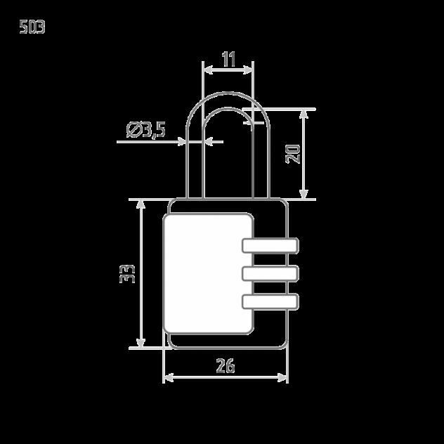 Замок навесной кодовый Нора-М 503 для чемодана - Черный - 26 мм