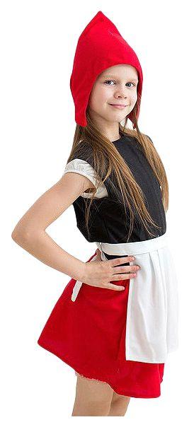 Карнавальный костюм Бока Красная Шапочка, цв. красный; черный р.122