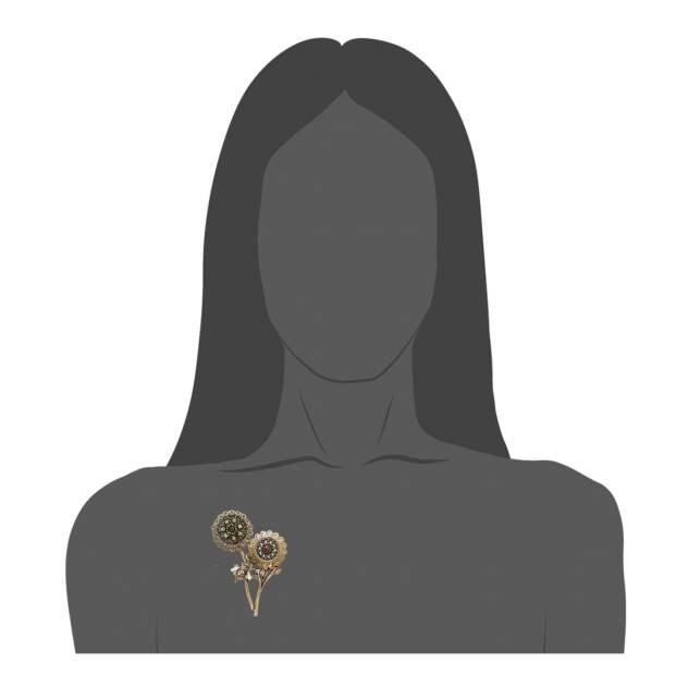 Брошь Maurizio Mori, муха, цветы с жемчужинками и хризолитом, с центральным гранатом
