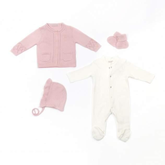 Комлект Комбинезон, кофта, шапка и пинетки RBC МЛ479003 крем-розовый р.62