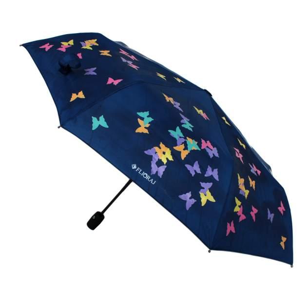 Зонт складной женский автоматический Flioraj 210715 FJ синий