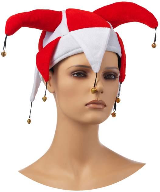 Аксессуар для карнавала Snowmen Шутовской колпак с бубенцами бело красный Е40234-С