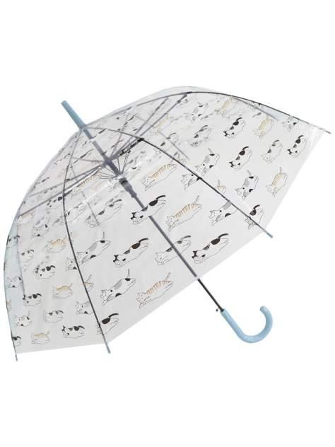 Зонт-трость МихиМихи Кошки прозрачный купол, голубой