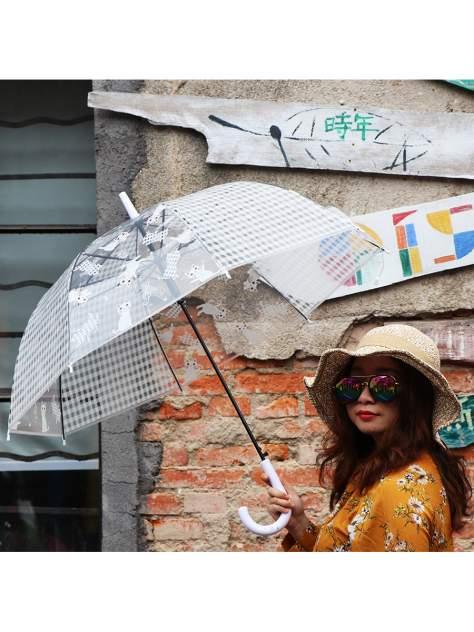 Зонт-трость МихиМихи Кошки прозрачный купол, белый