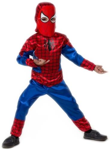 Карнавальный костюм Батик Человек-Паук, цв. синий; красный р.122