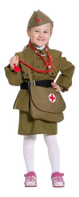 Карнавальный костюм Карнавалофф Военный, цв. хаки р.134