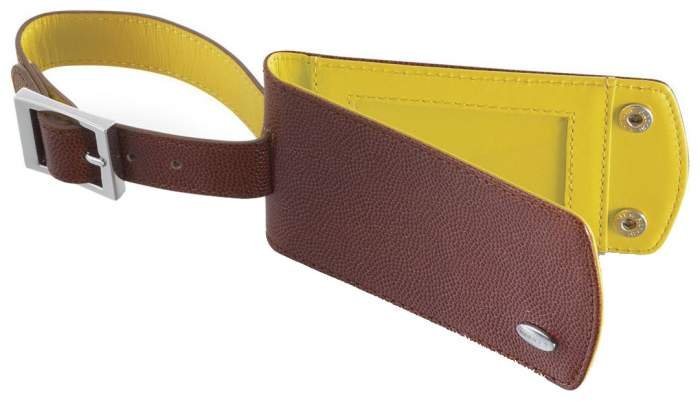 Бирка для багажа Dalvey 908 коричневая/желтая