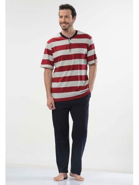 Пижама мужская Cacharel 2128 бордовая/синяя 2XL