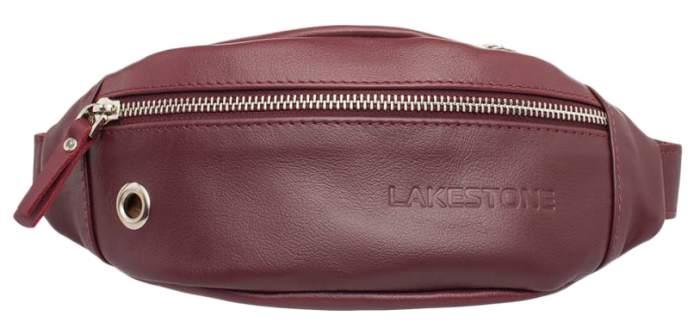 Сумка на пояс женская кожаная Lakestone Bisley красная