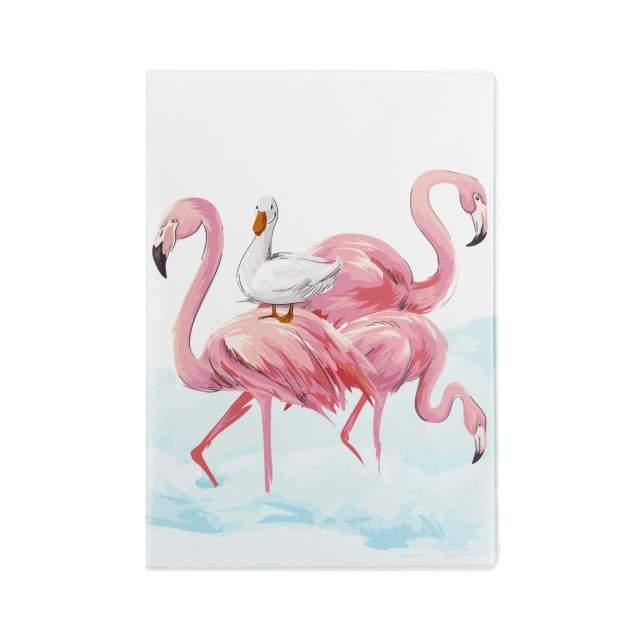 """Обложка для паспорта """"Фламинго и утка"""""""