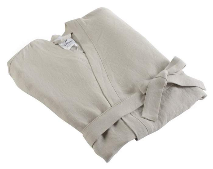 Халат из умягченного льна бежевого цвета Essential M